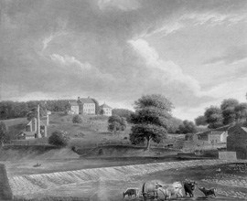 Mill Grove farm c. 1820 (painting by Thomas Birch)