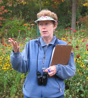 Laura Jackson leading a tour of Mountain Meadows