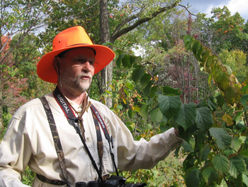 Mike Jackson shows off a red mulberry tree