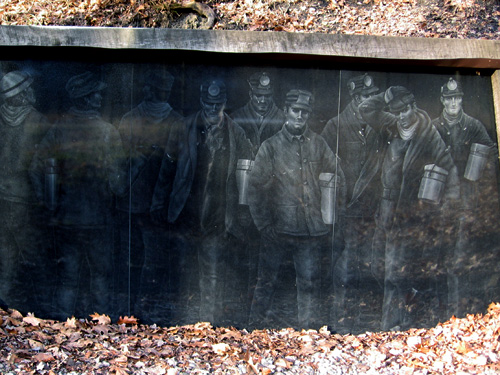 Mine No. 6 entrance, diamond-etched in black granite by Anita Lucero