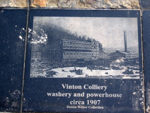 Etched image of the Vinton Colliery, part of the Great Map installation