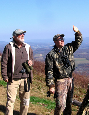 Tom Dick and Randy Flament at the Allegheny Front Hawk Watch