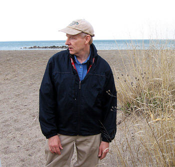 Jim Bissell with coastal little bluestem