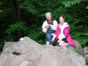 Marcia and Barb at the edge of the boulder field