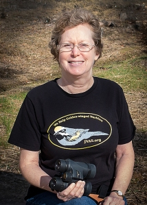 Modeled by JVAS President Laura Jackson, the golden-winged warbler T-shirt is part of a fund-raising effort to help preserve the habitat of the birds in Pennsylvania and Honduras