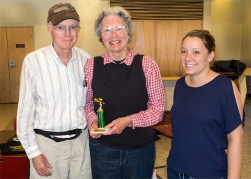 The White-crowned Sparrows team, left to right, Bruce Bonta, the author holding the Coots trophy, and Catherine Farr presenter of the award (Photo by Mike and Laura Jackson)