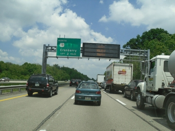 Heavy traffic on an interstate near Pittsburgh