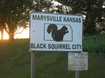 The home of the black squirrels, Marysville, Kansas