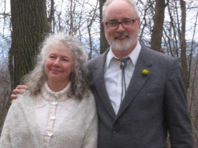 Dave and Rachel at their wedding ceremony on Sapsucker Ridge