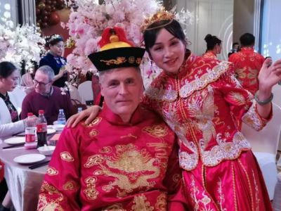 """Steve and Zhouyue, """"Joy,"""" at their wedding ceremony in China"""