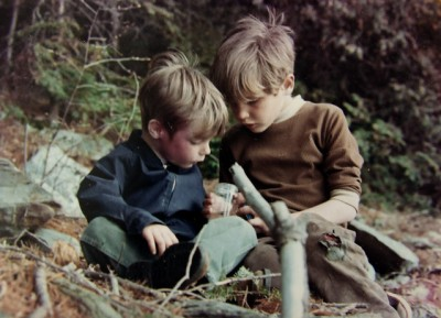 Dave, left, and Steve examine an insect in 1971