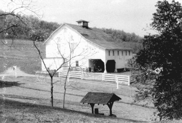 A view of the barn taken in 1958